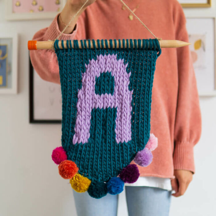 knit kit alphabet wall hanging