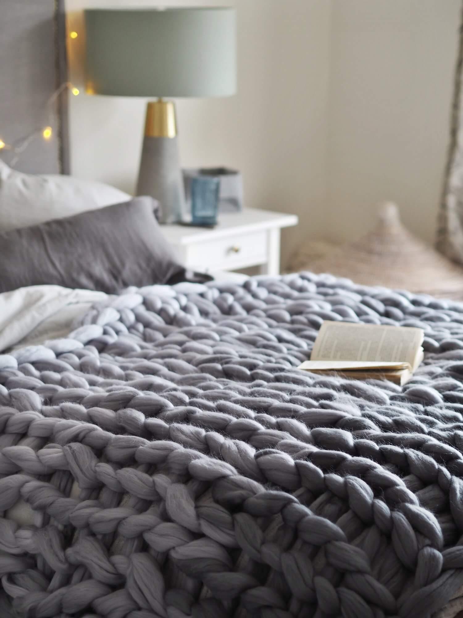 giant ombre knit blanket grey lauren aston designs 4