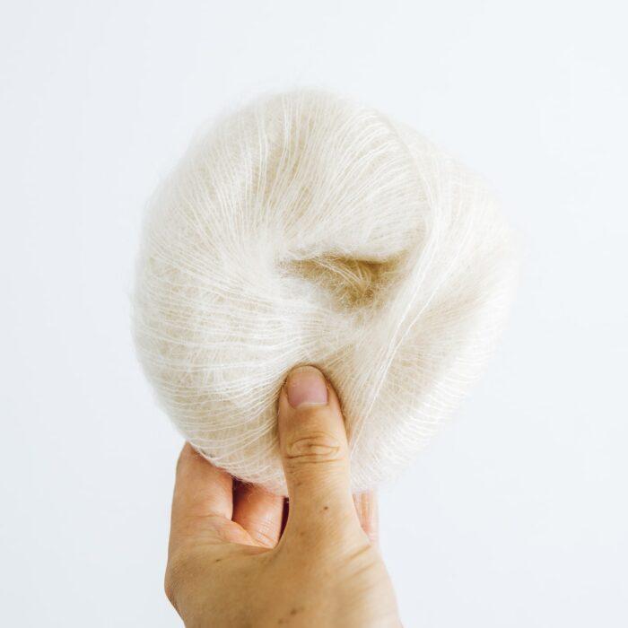 Cream Mini Mohair knitting yarn by Lauren Aston Designs