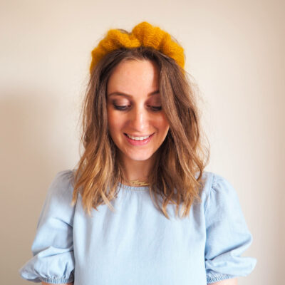 Halo Headband Mini Mohair knitting kit by Lauren Aston Designs in Mustard Yellow