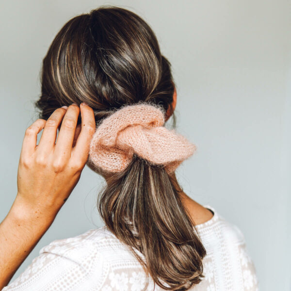 Mini Mohair knitted Scrunchie knit kit by Lauren Aston Designs