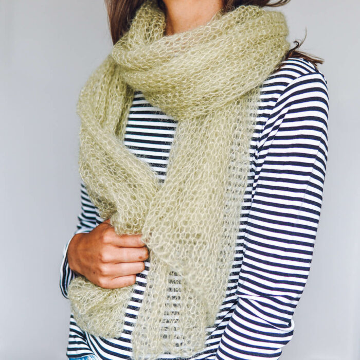 Sea Shore Scarf Mini Mohair knitting kit by Lauren Aston Designs in Sage Green