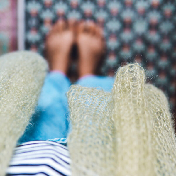 Sea Shore Scarf Mini Mohair knitting kit by Lauren Aston Designs in Sage Green