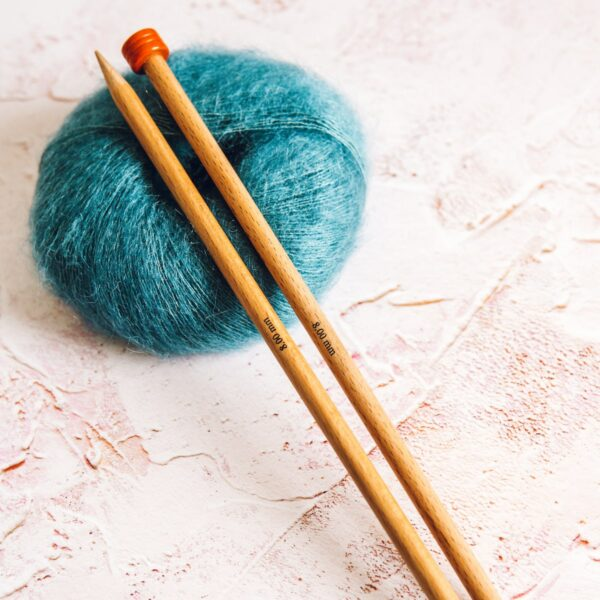 Petrol Blue Mini Mohair knitting yarn by Lauren Aston Designs and knitting needles