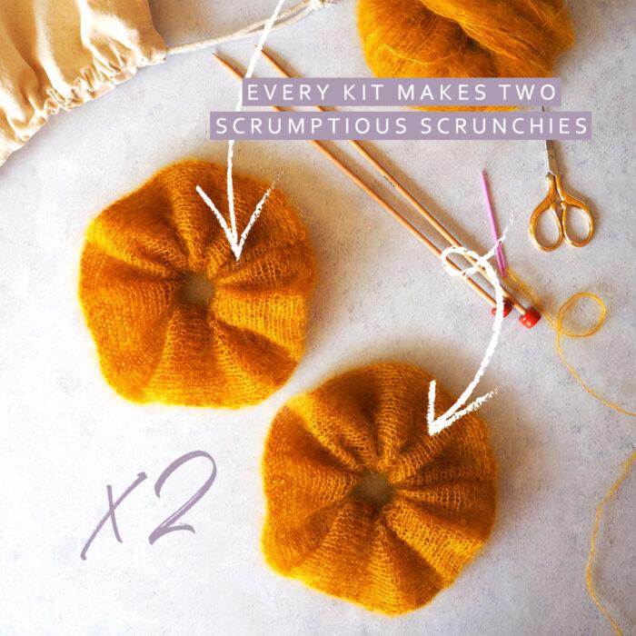 knit your own set of scrunchies in Lauren Aston Designs Mini Mohair