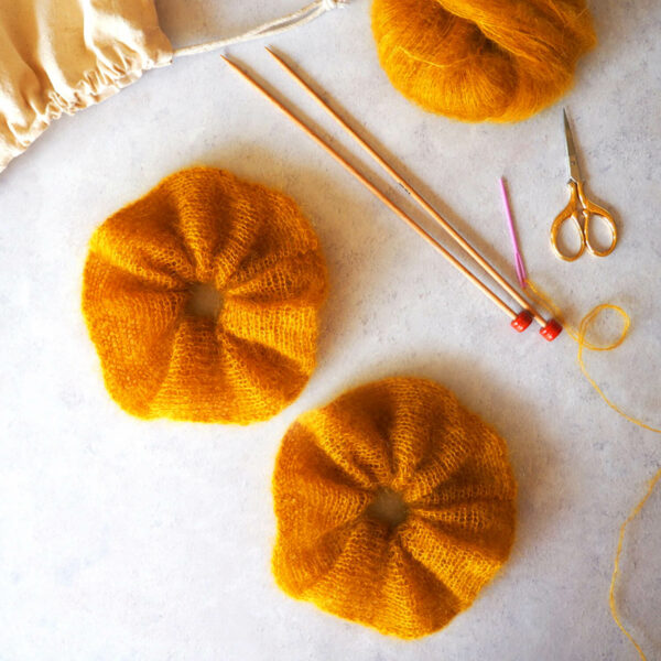 Knit Kit Mini Mohair Scrunchie Set Mustard
