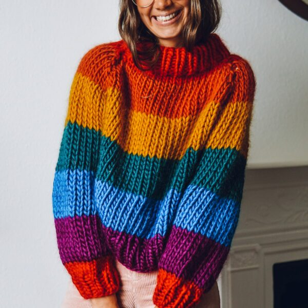 rainbow roll up knit down