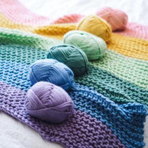 Pastel rainbow yarn